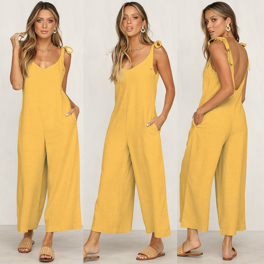 Four Colors Solid Women   Jumpsuits   Lace Up Loose Simple Backless Pockets Summer Fashion   Jumpsuits   for Female