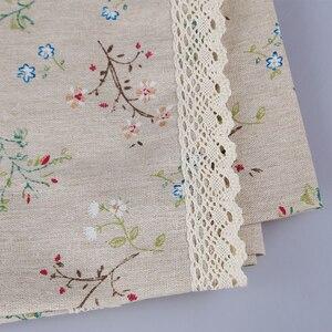 Модная льняная скатерть в стиле кантри с цветочным принтом, многофункциональная прямоугольная скатерть с кружевным краем