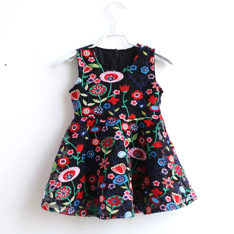 Summer mom kids girls floral embroidery lace sleeveless vintage party dress family clothes matching mother daughter full dresses family matching outfits kids girls and mom clothes floral print dress mom girls pleated party skirts mother and daughter dresses