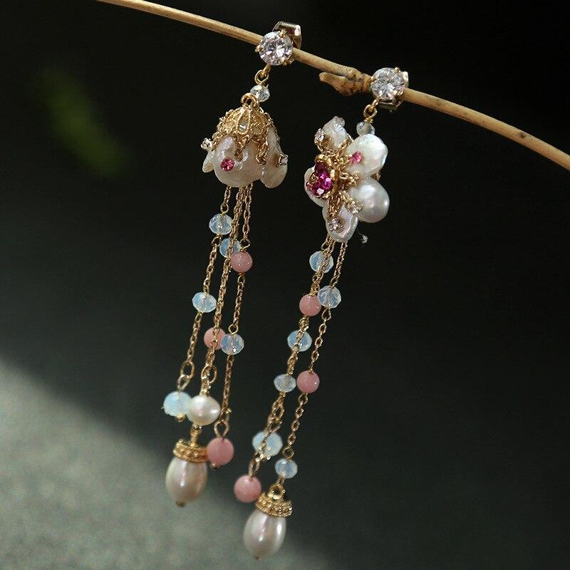 Perles baroques naturelles seiko asymétrique gland boucles d'oreilles ensemble tarière mode cristal boucles d'oreilles en gros et lot mixte
