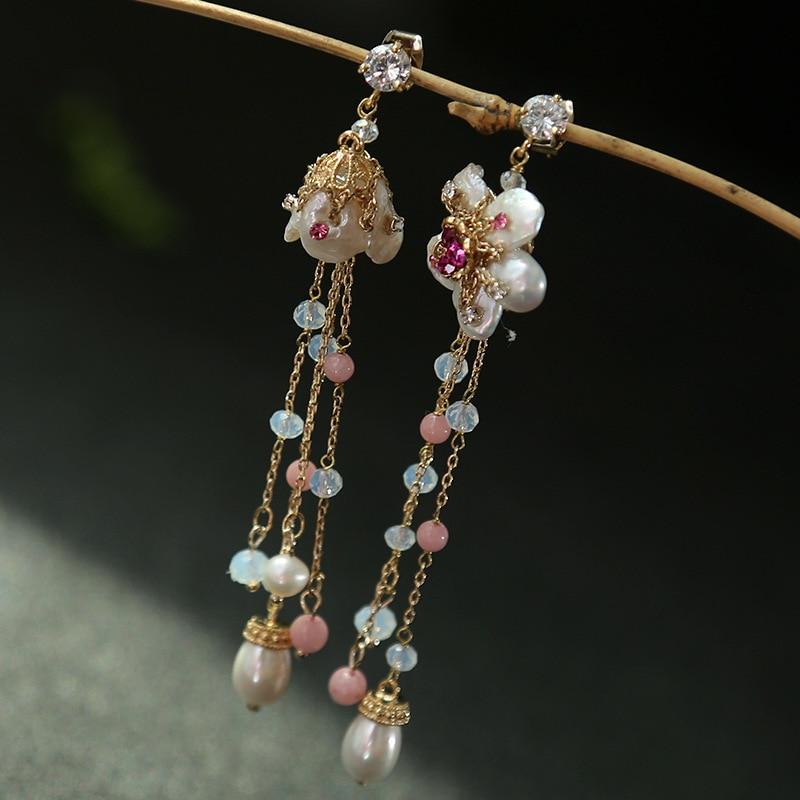 Perles baroques naturelles seiko asymétrique gland boucles d'oreilles ensemble vis mode cristal boucles d'oreilles en gros et mélange