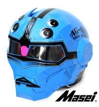 Личность мотоциклетный шлем Подлинных мужчин и женщин железный человек ретро высокого класса off-road мотоцикл Скорпион Синий
