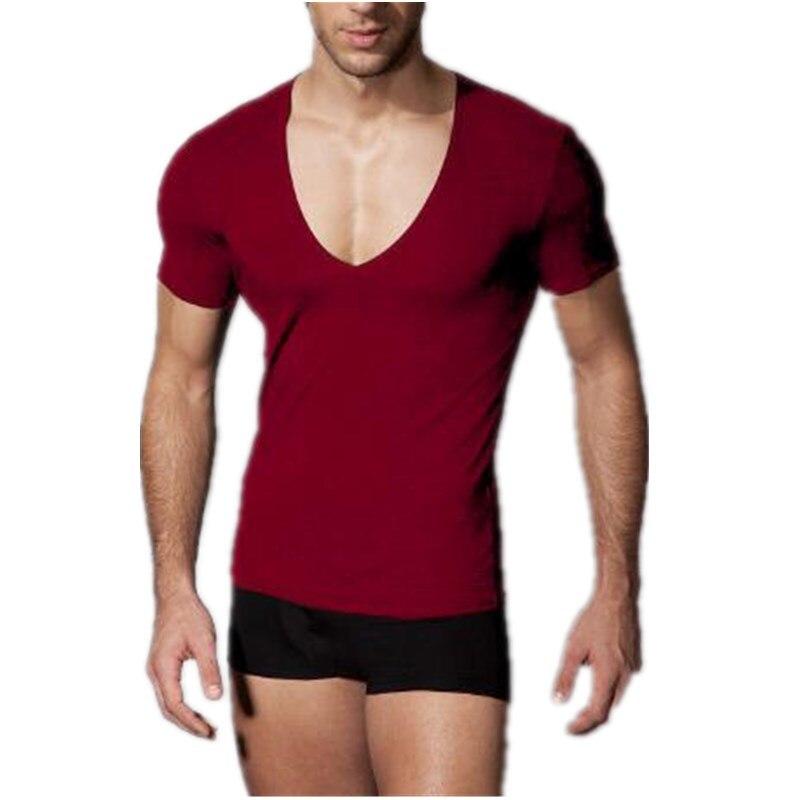 6a79e3c7cd3c Uwback2017 Summer Fashion Elasticity Sexy Men Deep V Neck T Shirt ...