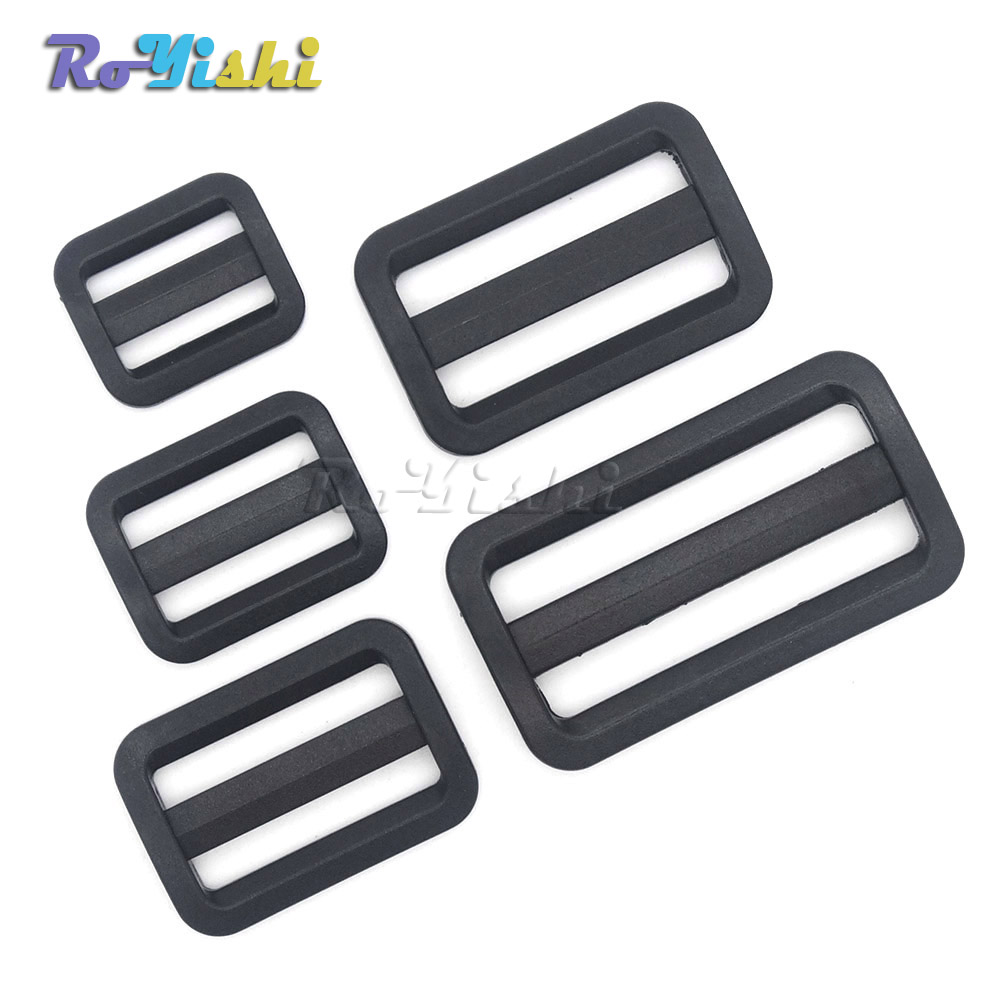 Buckles & Hooks Tireless 100pcs/pack Plastic Black Curve Tri-glide Slider Adjustable Buckle For Bags Webbing