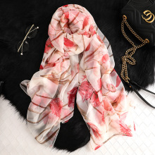 Newest 2019 Women Scarves Beautiful flowers Printing Fashion Big Long Shawl and Wrap Silk Scarf Ladies Soft Chiffon