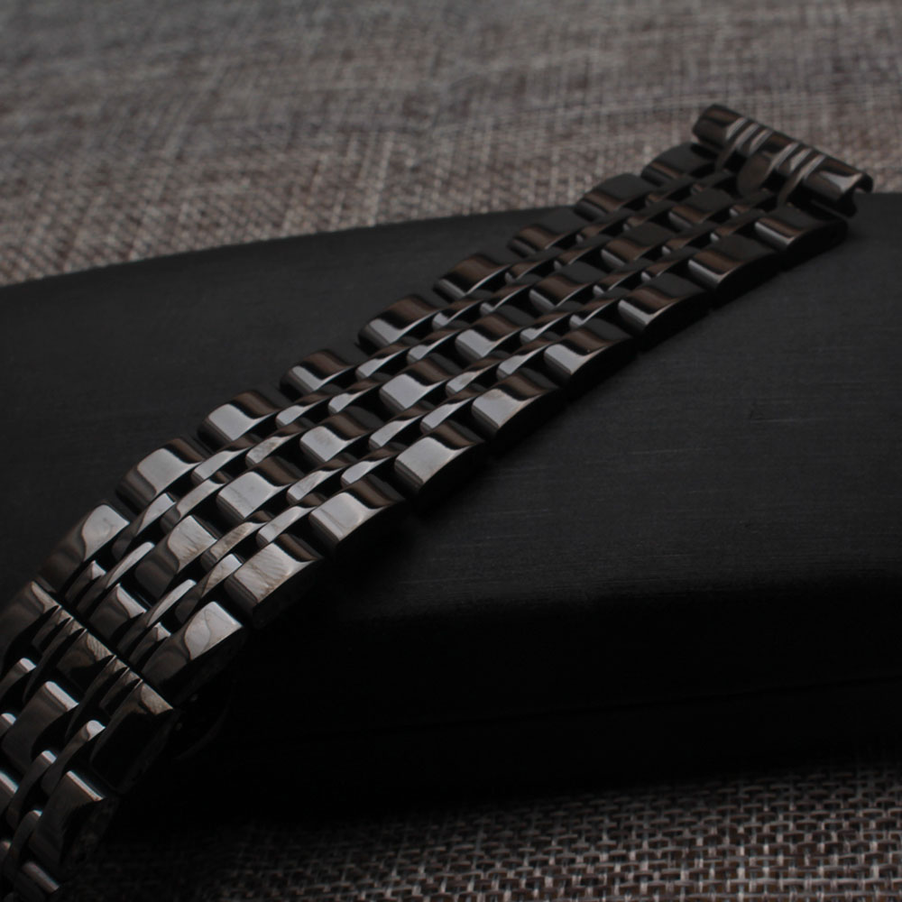 Straight end Watchband strap 14mm 16mm 18mm 20mm 22mm 24mm fashion polished stainless steel black wrist watch band bracelet new цена 2017