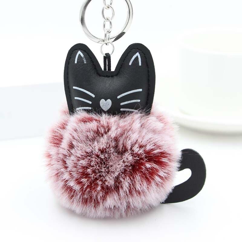 Black Cat Key Chain Car Keychain Rabbit Fur Ball Animal Keyrings Pom Pom Plush Pendant Bag Charms Key Holder Trinket Porte Clef