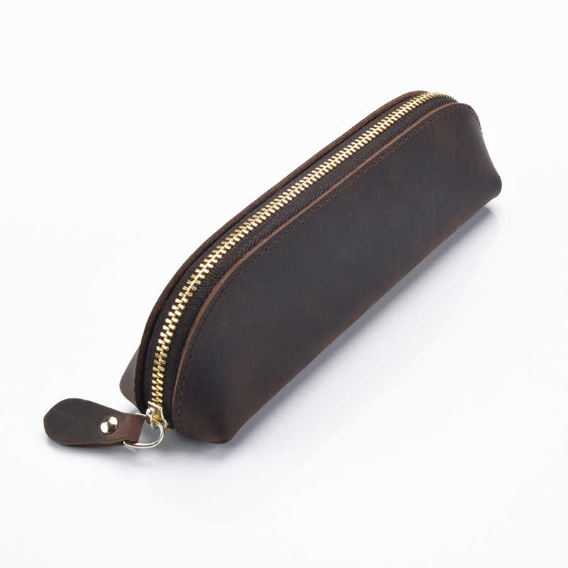 Genuine Leather Crazy Horse Leather Handmade Vintage Pencil Case Pencil Bag For School Stationary Travel Collection Gifts
