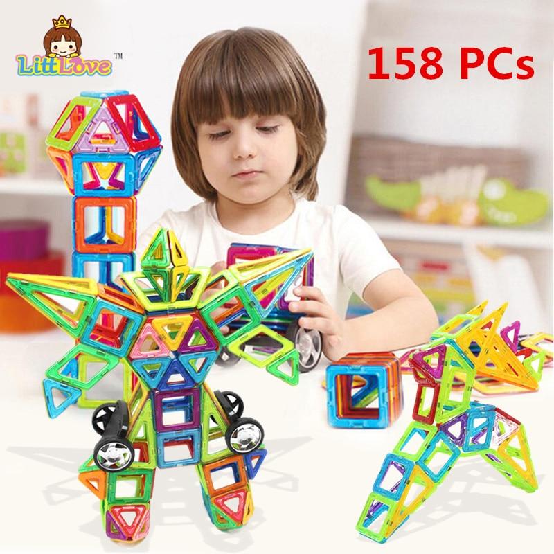 ФОТО 158PCS Regular Enlighten Bricks Educational Magnetic Designer Toy Square Triangle DIY Building Blocks Bricks Toys for Children