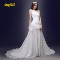 One Shoulder Organza Wedding Dresses Pleats Sleeveless A Line Sweep Train Elegant China Bridal Gowns Real