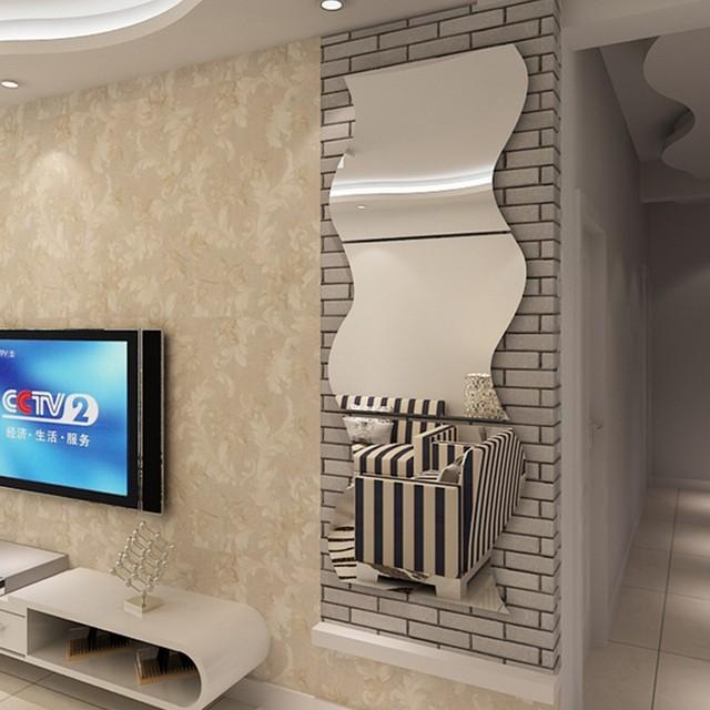 3 stücke Acryl Silber 3D Spiegel Wand Aufkleber Welle Moderne Design ...