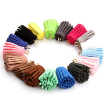 OlingArt  10PCS/LOT 15mm with DIY keychain for mobile harness suede tassels gold small hole jewerly making
