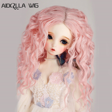 Hot Sale New Fashion Style 1/3 Wig Pink Long Curls BJD Doll Wigs High Temperature Fiber DY Accessories