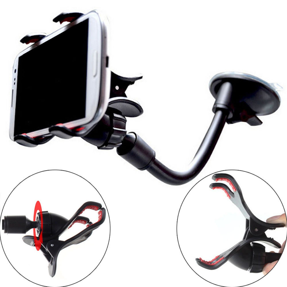 Universal Car Phone Holder Car Window Sucker Long Neck Stand Support GPS Holder For Iphone X XS Huawei Samsung Mobile Holder
