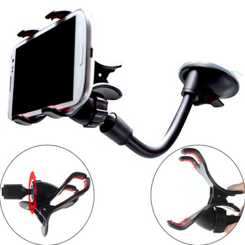 Universal Car Phone Holder Car Window Sucker Long Neck Stand Support GPS Holder For Iphone X