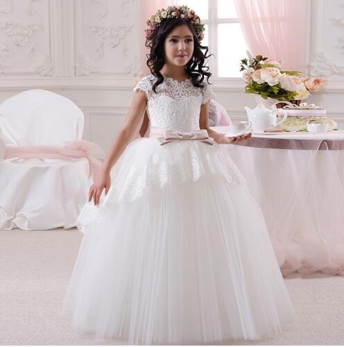White Lace Girls Dresses O Neck Ankle Length Pageant Dresses For Little Girls First Communion Gowns Vestidos De Primera Comunion