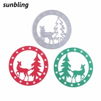 Christmas Deer Tree Wreath Cutting Dies For Painting DIY Scrapbooking Embossing Folder Decorative Card Making Craft Supplies