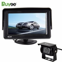 Buyee 4.3 TFT LCD Car Monitor 2 AV inputs + 18 LED IR Car Rear view reverse backup camera for Truck BUS DC 12V parking system