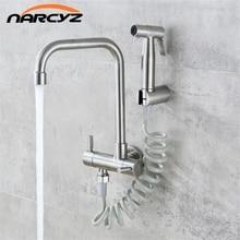 Küche Wasserhahn 304 edelstahl in die wand horizontale kalten wasserhahn spray set bidet düse doppel wasserhahn XT 180