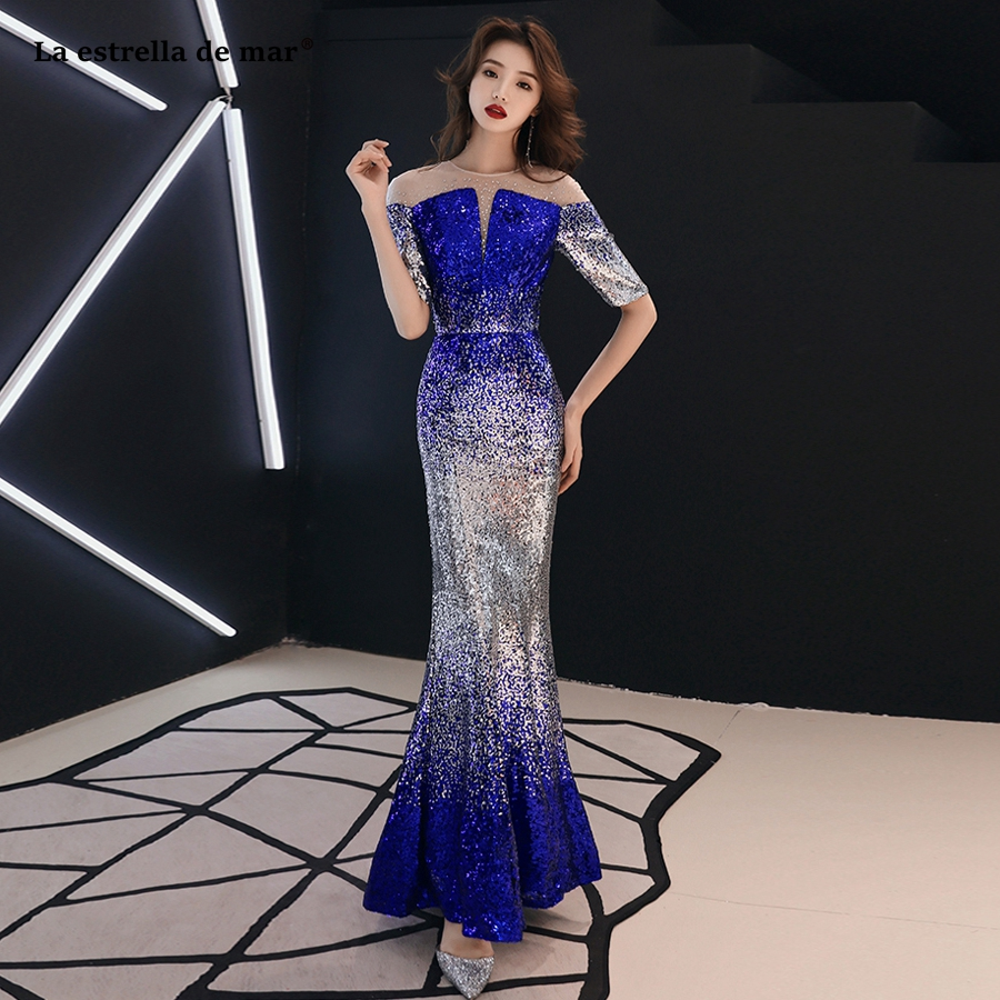robe demoiselle d'honneur pour femme new Scoop neck tulle sequins half sleeve sexy mermaid royal blue African   bridesmaid     dress