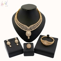 YULAILI Zircon Bridal Gold Color Jewelry Sets Women Necklace Bangle Ring Earrings Ladies Costume Accessories