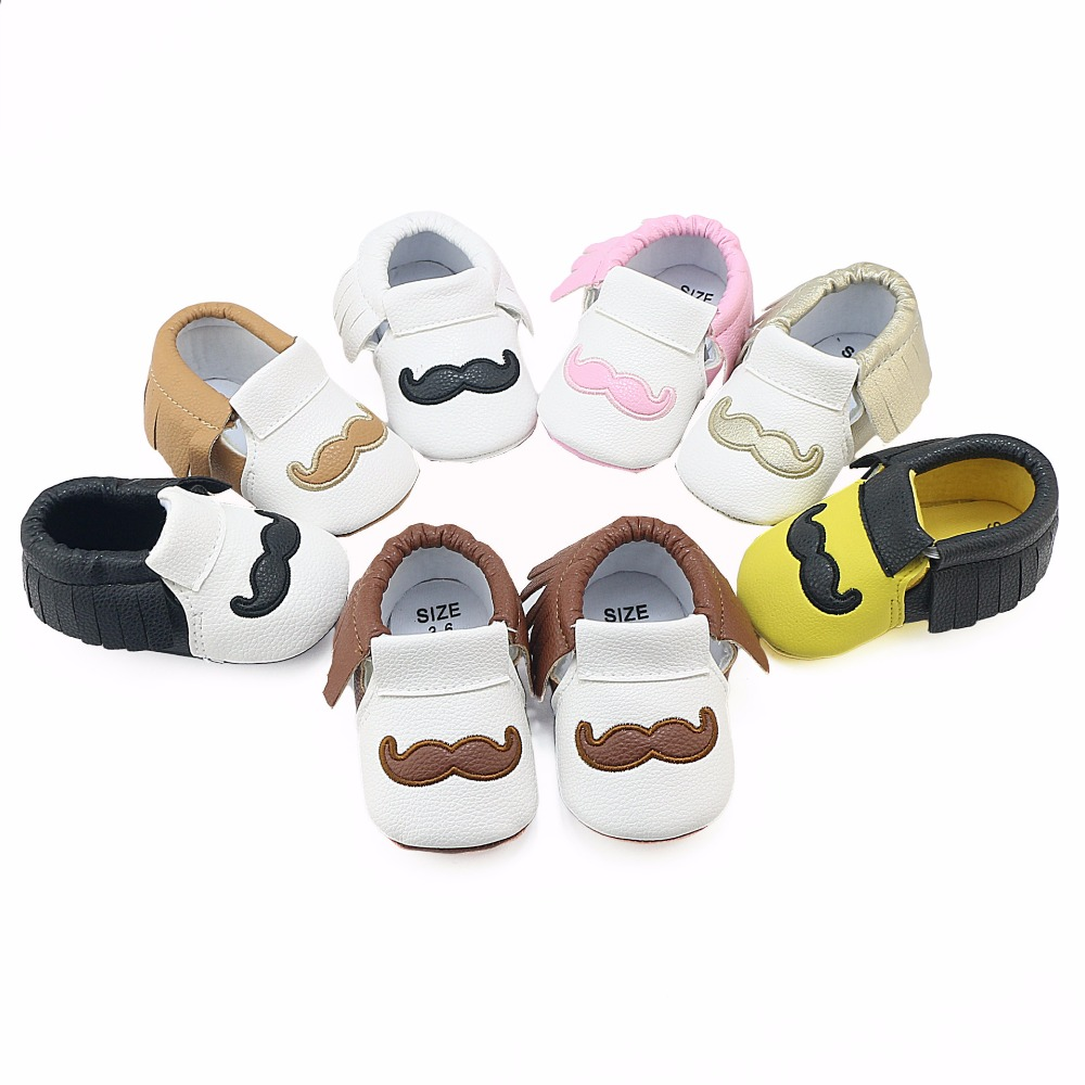 Free Shipping PU Leather Baby Shoes Newborn Shoes Soft Infants Crib Shoes First Walker Sneakers Tassels 7-Color Baby Moccasins