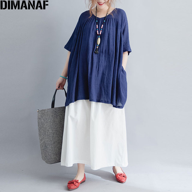 337073a3b5d DIMANAF Plus Size Women T-Shirt Linen Batwing Sleeve Summer Style Vintage Large  Size Casual V-Neck New Basic Big Tops Tees 5XL