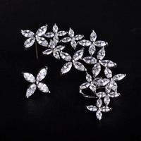 Blucome incompatíveis com a folha em forma de brincos da orelha do manguito para as mulheres brincos de ouro cor prata jóias aretes orecchini ol quente bijoux