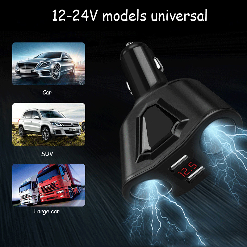 Car Charger New Multi-function Dual USB Digital Display Double Cigarette Lighter
