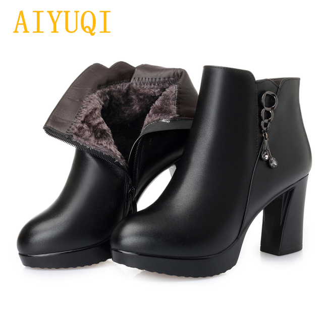 bcd873ede383 AIYUQI Female high heel boots winter 2019 new genuine leather female Martin  boots wool
