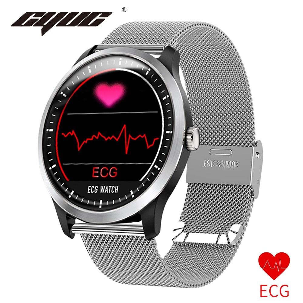 relogio inteligente CYUC N58 PPG ecg smart watch com electrocardiógrafo ECG display, pressão arterial holter ecg monitor de freqüência cardíaca smartwatch relógio digital for apple android os