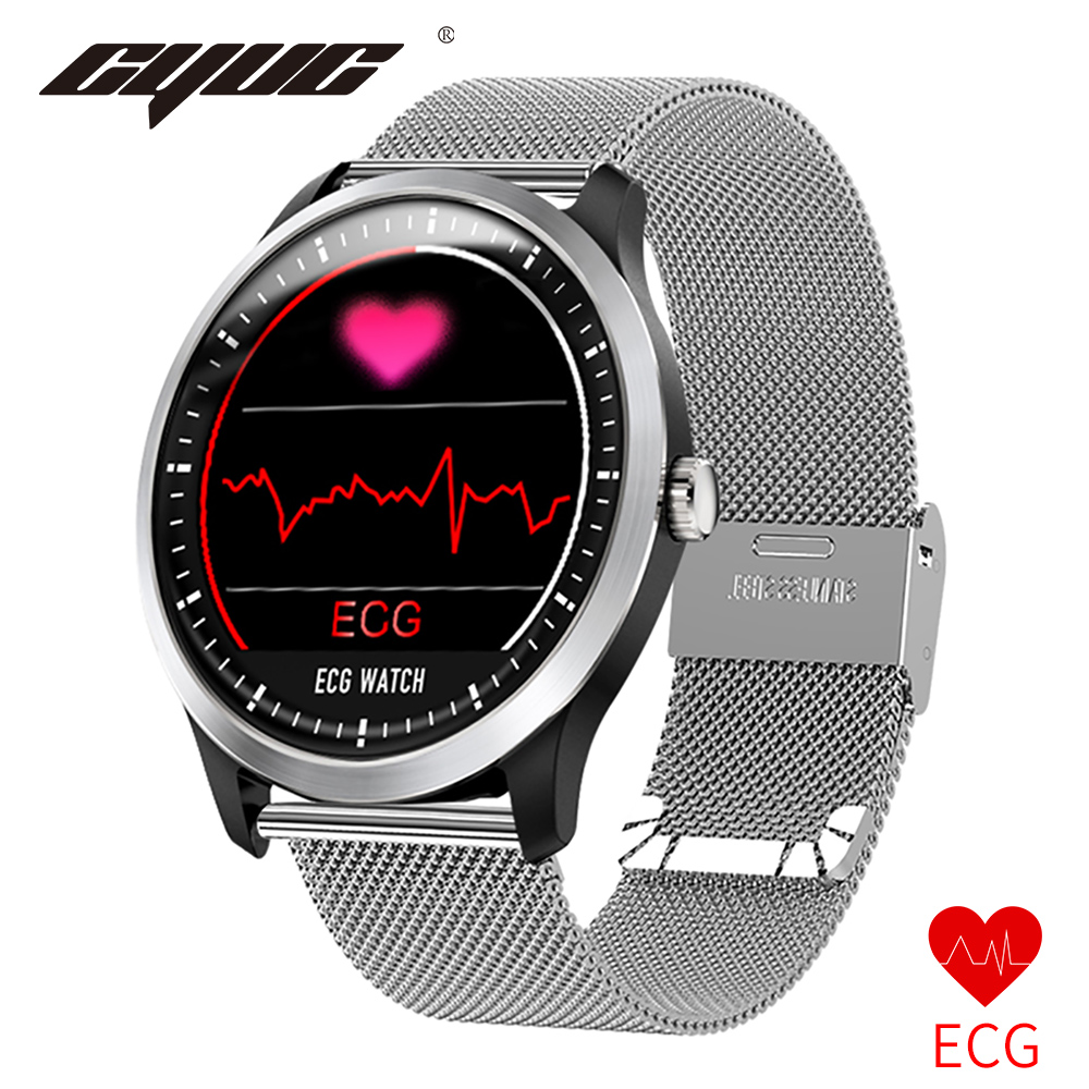 relogio inteligente CYUC N58 PPG ecg smart watch com electrocardiógrafo ECG display, pressão arterial holter ecg monitor de freqüência cardíaca smartwatch relógio digital for apple android os