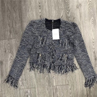 Heavy duty contrast yarn thin circle ring gold buckle pocket handmade tassel short long sleeved cardigan coat 0721