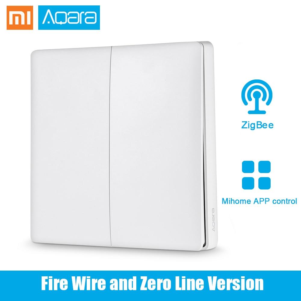 Original Xiaomi Aqara Smart Light Control Fire Wire Zero Line Double Key Single Key ZiGBee Gateway Wall Switch Mijia APP Control 2018 orvibo geekrav zigbee smart switch zero