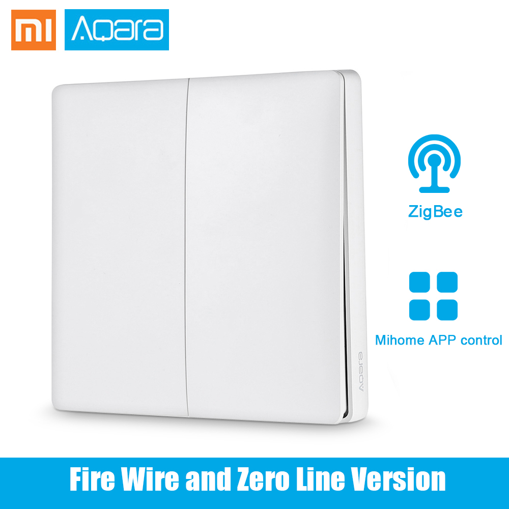 Original Xiaomi Aqara Smart Light Control Fire Wire Zero Line Double Key Single Key ZiGBee Gateway Wall Switch Mijia APP Control