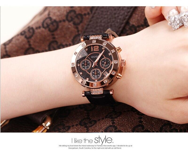 Moda GUOU marca de lujo relojes de señoras Rhinestone cuero Casual regalo de las mujeres vestido de oro rosa relojes de cuarzo relogio feminino