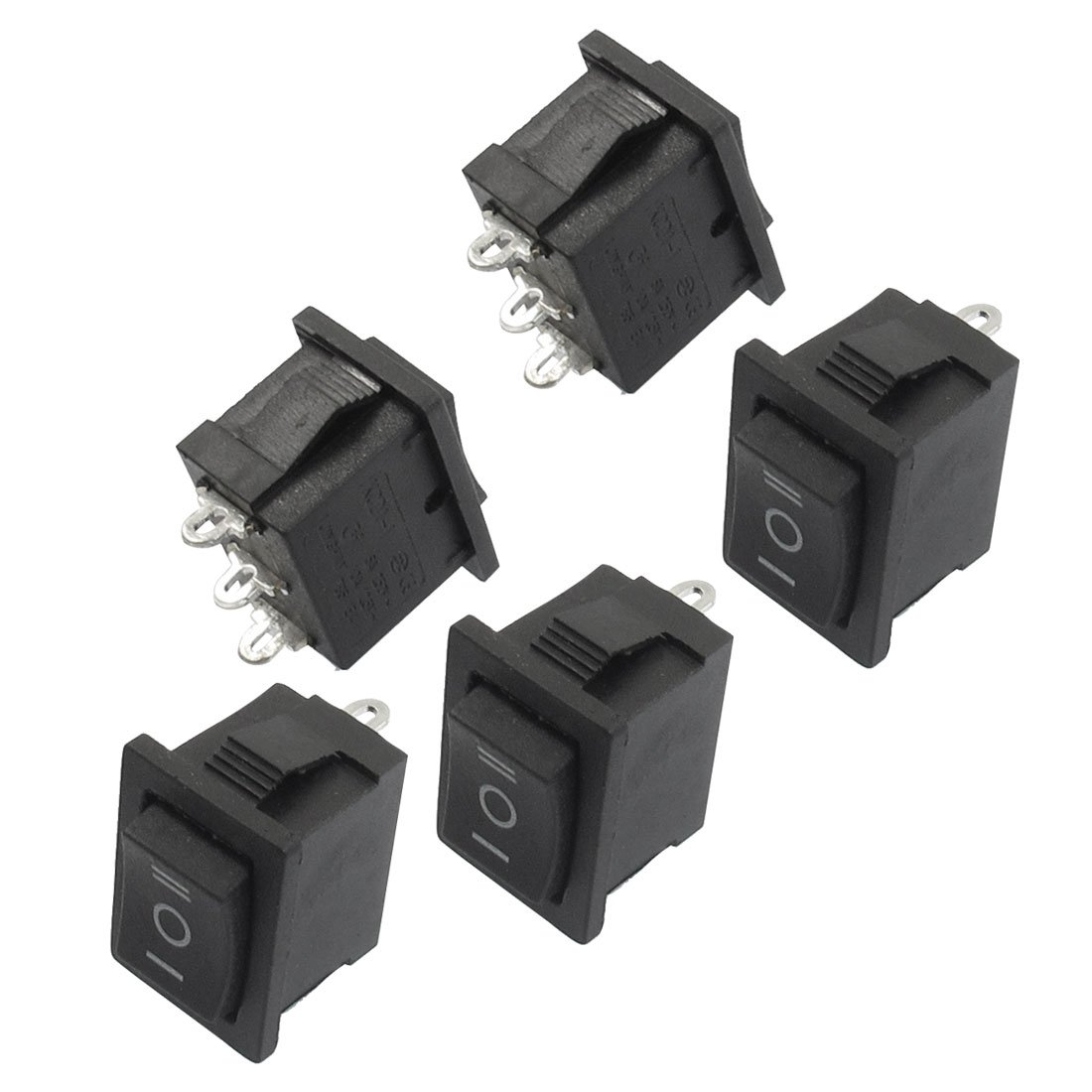 WSFS Hot 5 pcs SPDT On/Off/On Mini Black 3 Pin Rocker Switch AC 6A/250V 10A/125V yellow led on off rocker switch w terminal protector set for electric appliances 2 pcs
