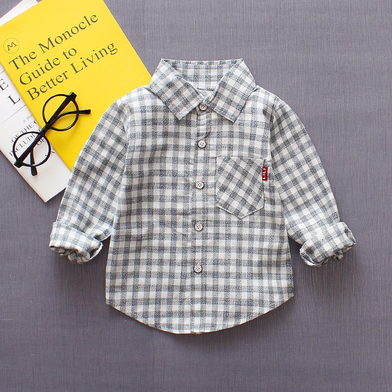 Kids Boy Blouse Cotton Plaid Shirt For Baby Boys Girls Long Sleeve Tops Shirts Fashion Clothes 6 Style yg71034045 winter baby blouse for girls blouse flower fleece worm full sleeve girls tops floral fashion girls clothes kids shirt