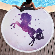 Summer Cute Unicorn Pegasus Round Beach Towel Microfiber Printed Colorful Terry Cloth Thick Oversized Large Roundie Blanket