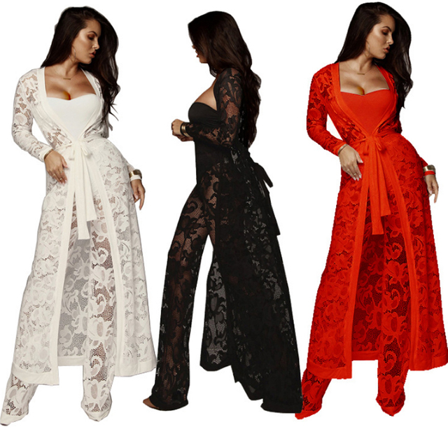 74df004f Women Three Piece Set Sexy Lace Outfits Long Sleeve Cover Up Smock Ponchos  Cloak+Broad