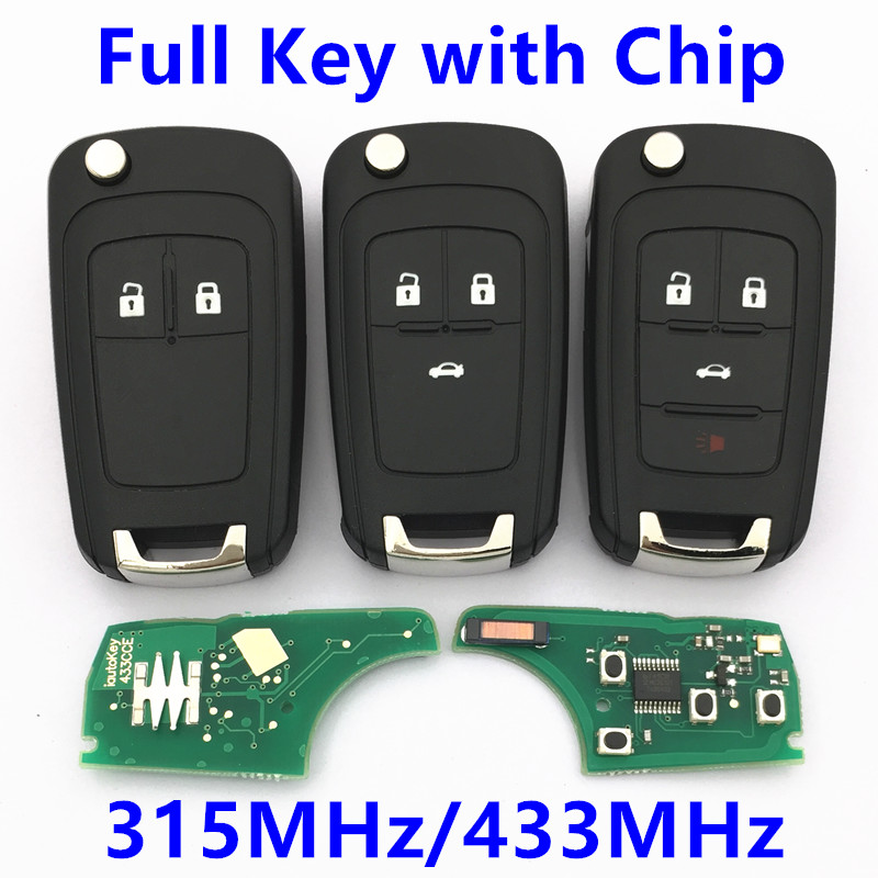 Remote Key 315MHz 433MHz ID46 Chip for Chevrolet Malibu Cruze Aveo Spark Volt Orlando Flip Car