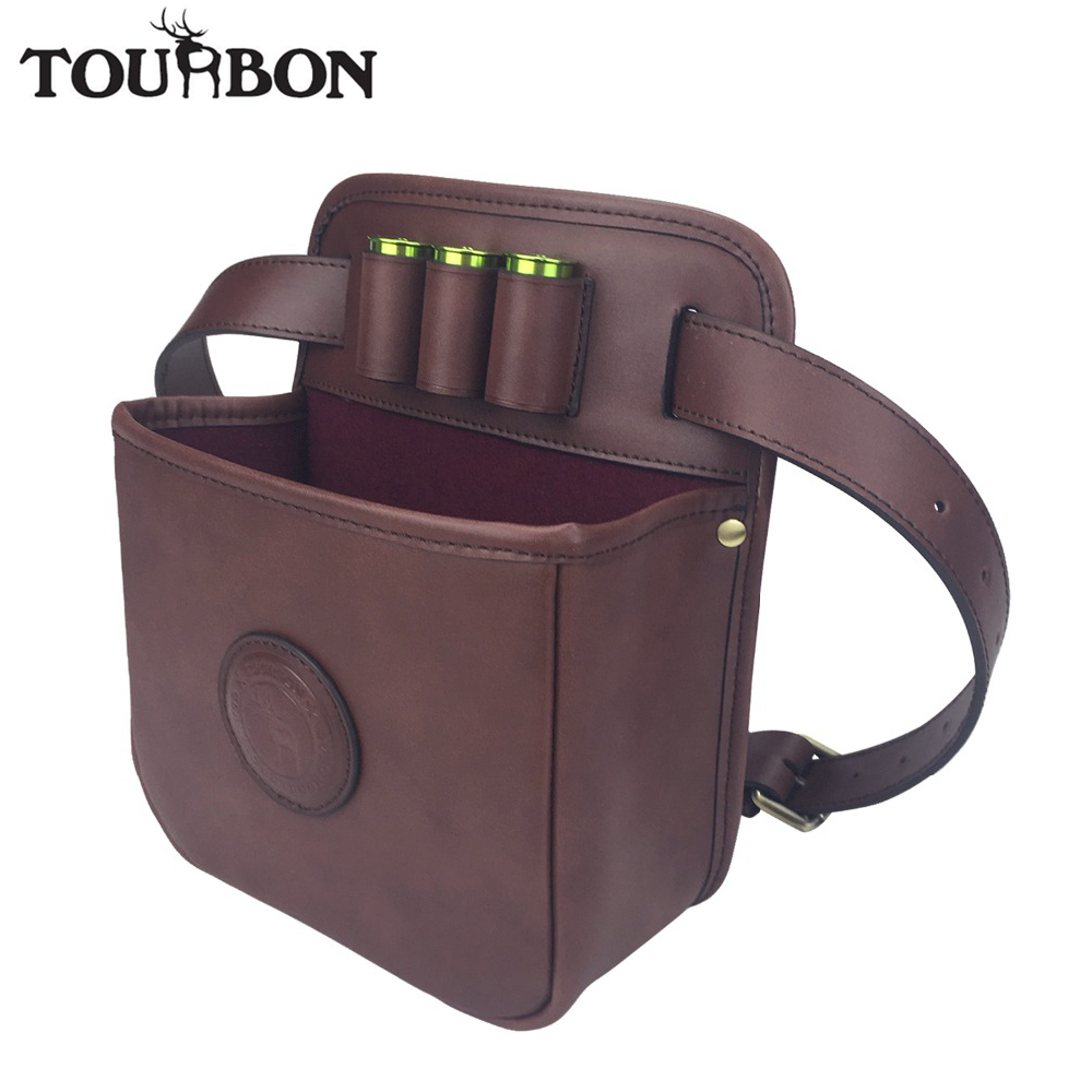 Tourbon Hunting Tactical Shotgun Cartridges Bag Game Speed Loader Ammo Shells Case Durable Leather w Large