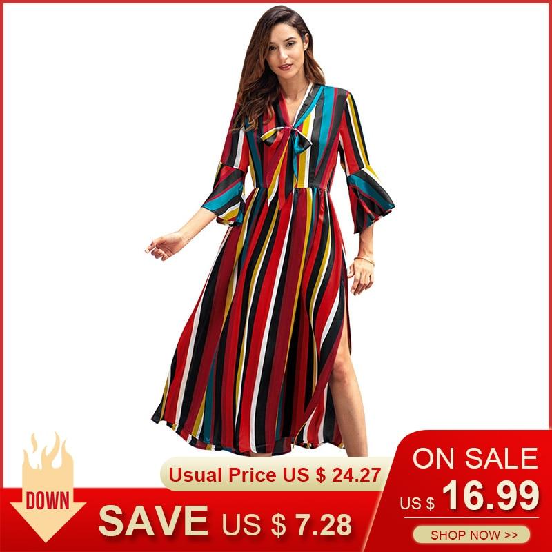 Fashion Women Bohemian Dresses Ladies Rainbow Striped Long Dresses 2019 High Street Lacing Vestidos Donna Plus Size c3082