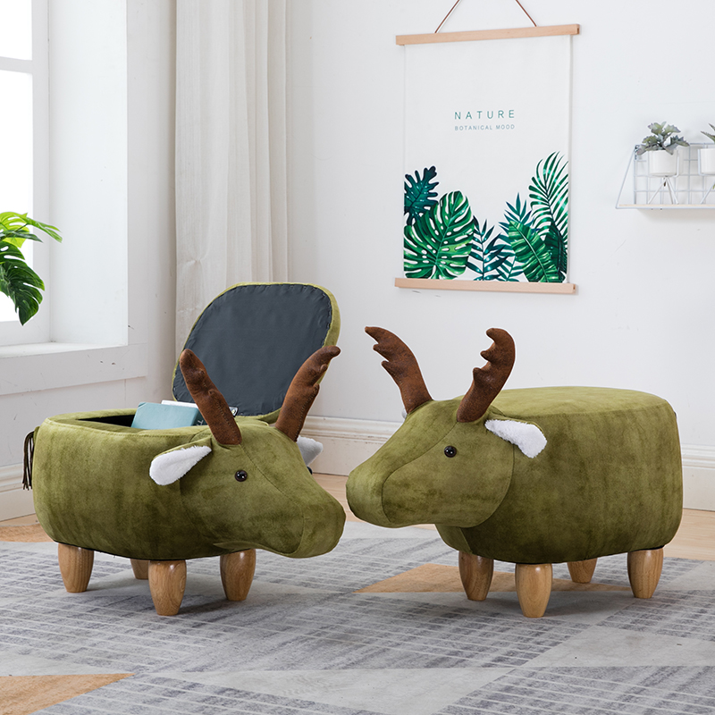Nordic shoes bench solid wood deer animal shoes bench storage bench sofa stool creative small stool
