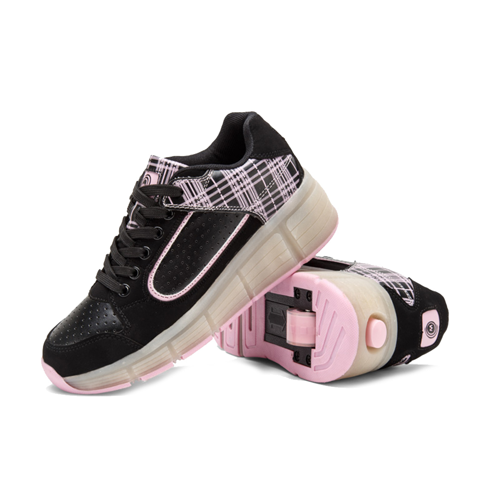 PU Leather Women Sports Shoes Plaid Pattern Single Wheel Fitness Sneakers Gym Athletic Outdoor Walking Shoes cross training shoes walking arder shoes for women leather sport shoes soled sneakers allmatch students flat shoes fitness