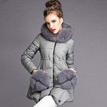 Luxury Large Fox Fur Hooded Parka 2016 Women's Warm Down Jacket Winter Jacket Women Brand White Duck Down Jackets And Coats