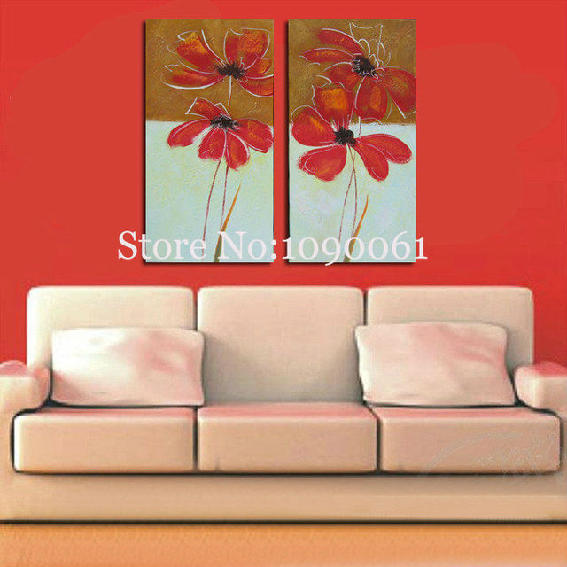 Handmade two piece modern abstract red poppy flowers canvas wall art oil paintings living room decorative