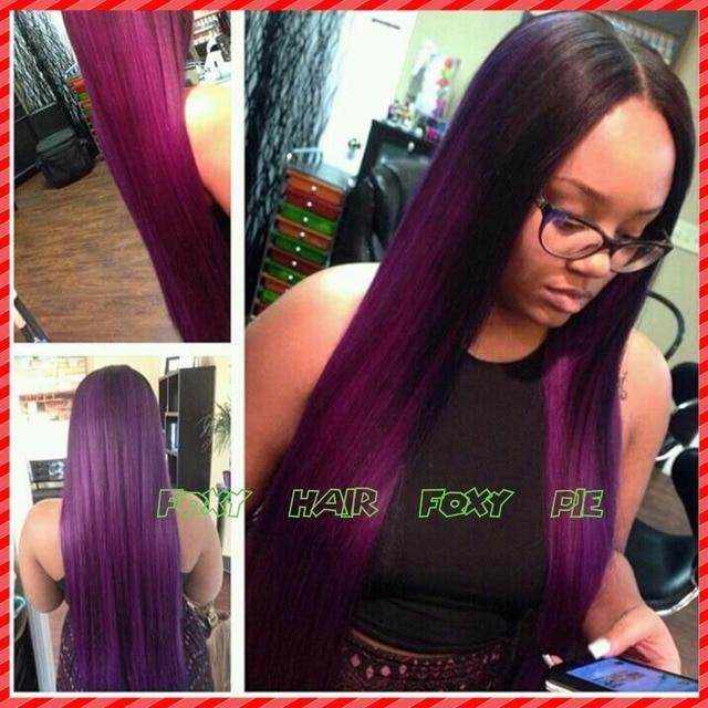 Making Supplies Purple Ombre Wig Brazilian Virgin Two Tone Color