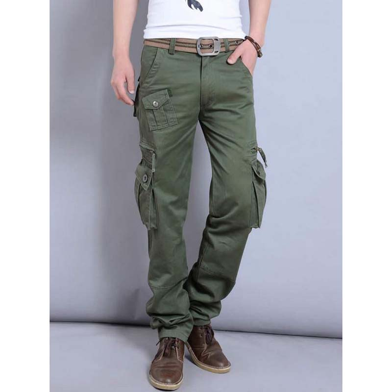 Spring Summer Casual pant Mens Lightweight Pure cargo pants Losse Plus 38 40 Size Cotton ...
