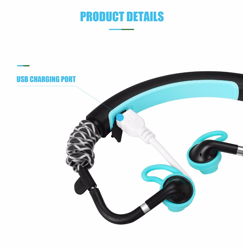 Newest Stick Wireless Headphones Water proof Stereo Bluetooth Sports Headset with mic For Running Cycling Tranning Earphones